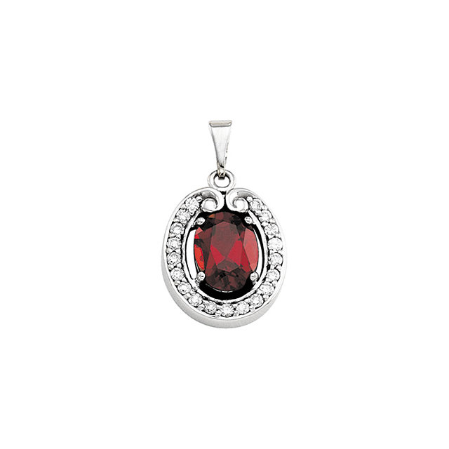 Contemporary 14 Karat White Gold Mozambique Garnet & 0.20 Carat Total Weight Diamond Pendant