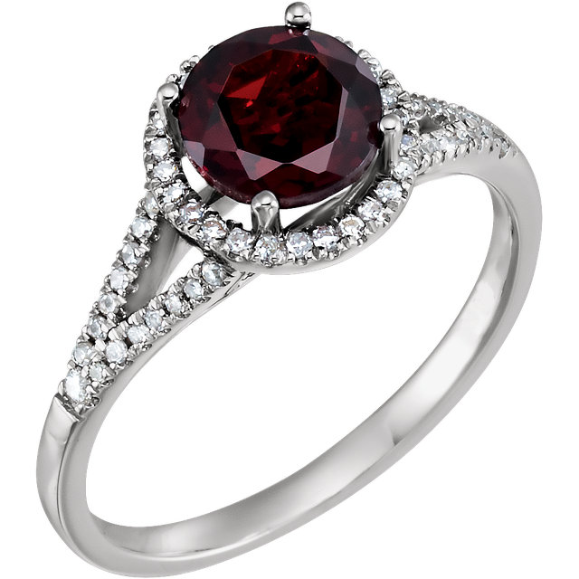 Great Deal in 14 Karat White Gold Mozambique Garnet & 0.17 Carat Total Weight Diamond Ring