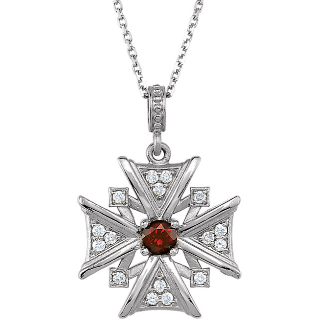 Appealing Jewelry in 14 Karat White Gold Mozambique Garnet & .16 Carat Total Weight Diamond 18