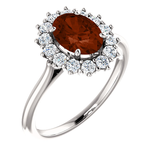 Appealing Jewelry in 14 Karat White Gold Mozambique Garnet & 0.40 Carat Total Weight Diamond Ring