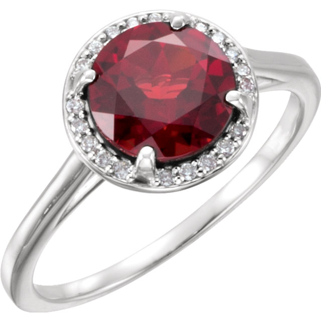 Eye Catchy 14 Karat White Gold Mozambique Garnet and .05Carat Total Weight Diamond Ring