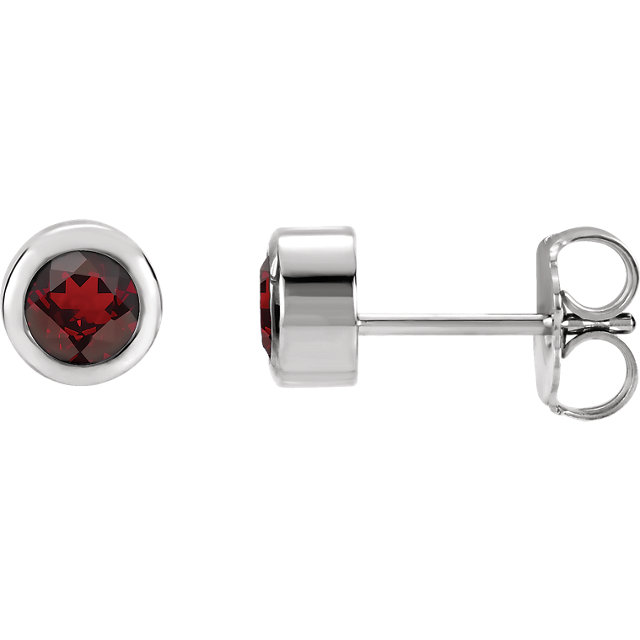 14 Karat White Gold Round Genuine Mozambique Garnet Earrings