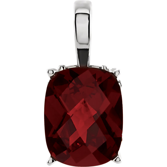 Nice 14 Karat White Gold Cushion Genuine Mozambique Garnet Pendant