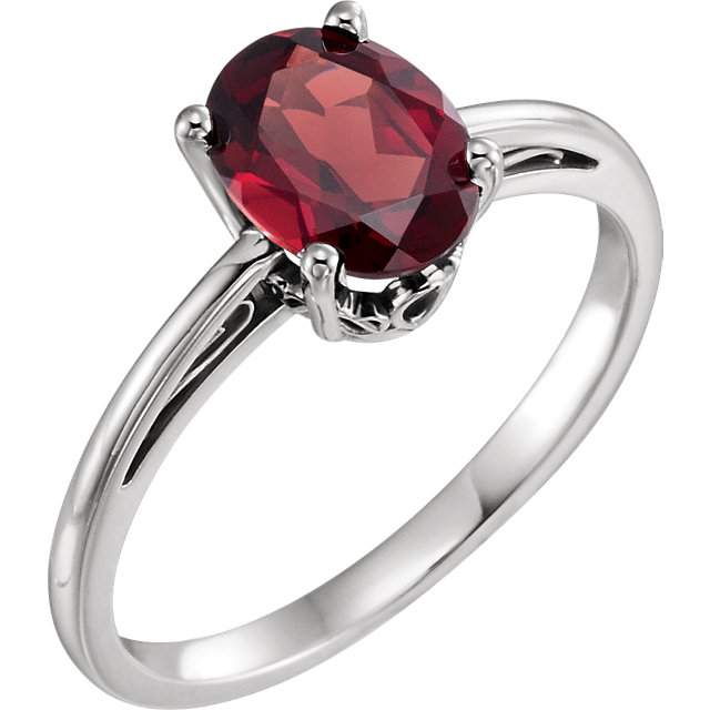 Fine Quality 14 Karat White Gold Mozambique Garnet Ring