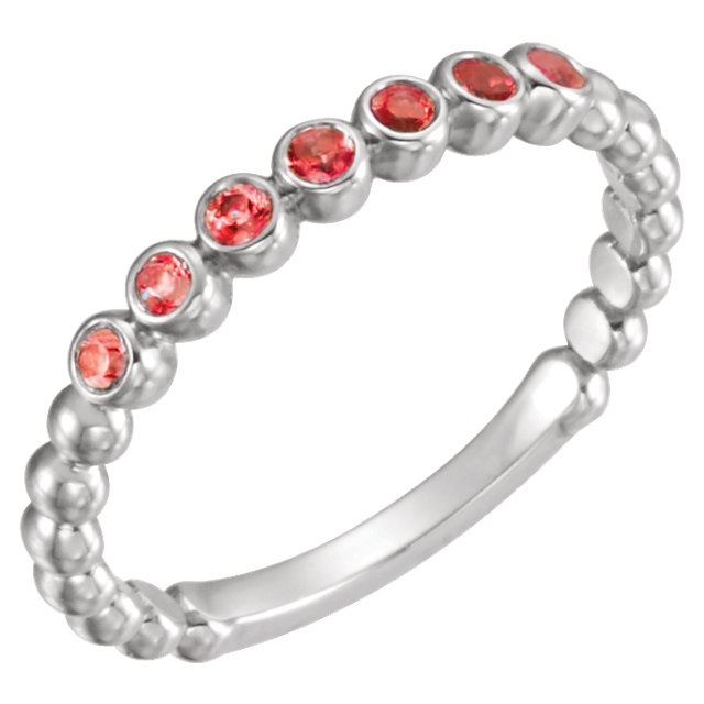 Buy Real 14 KT White Gold Mozambique Garnet Stackable Ring
