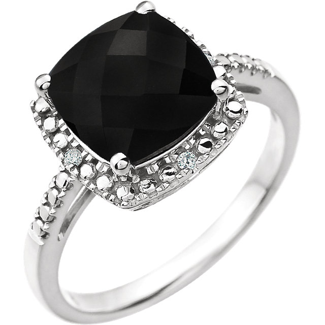 Beautiful 14 Karat White Gold Onyx & .03 Carat Total Weight Diamond Ring