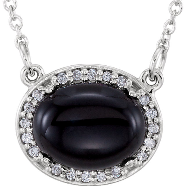Great Gift in 14 Karat White Gold Onyx & .05 Carat Total Weight Diamond  Halo-Style 16.5