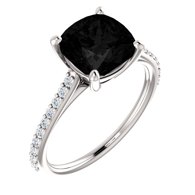 Eye Catching 14 Karat White Gold Cushion Genuine Onyx & 1/5 Carat Total Weight Diamond Ring
