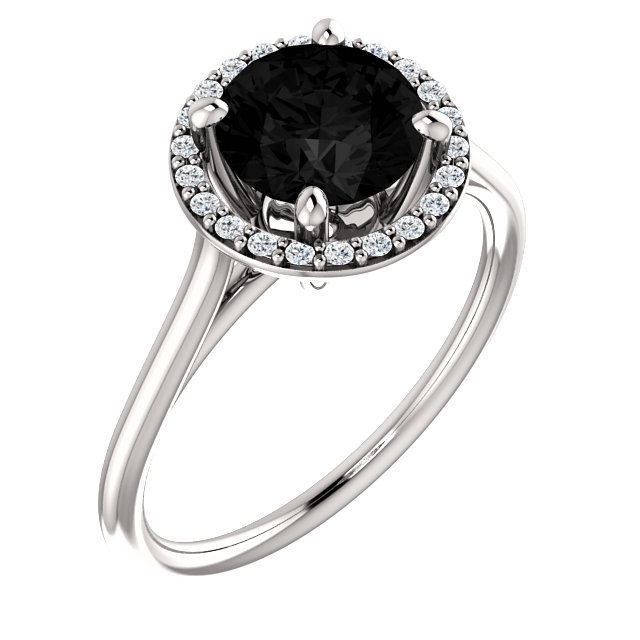 Striking 14 Karat White Gold Round Genuine Onyx & 1/8 Carat Total Weight Diamond Ring