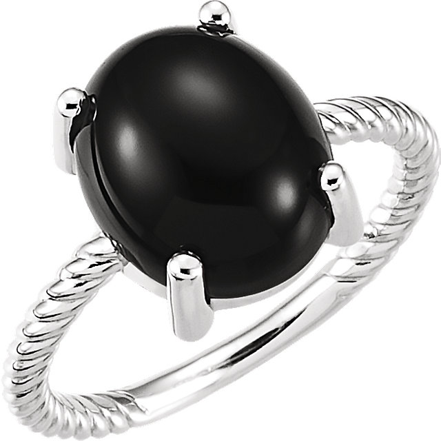 Contemporary 14 Karat White Gold Onyx Cabochon Ring