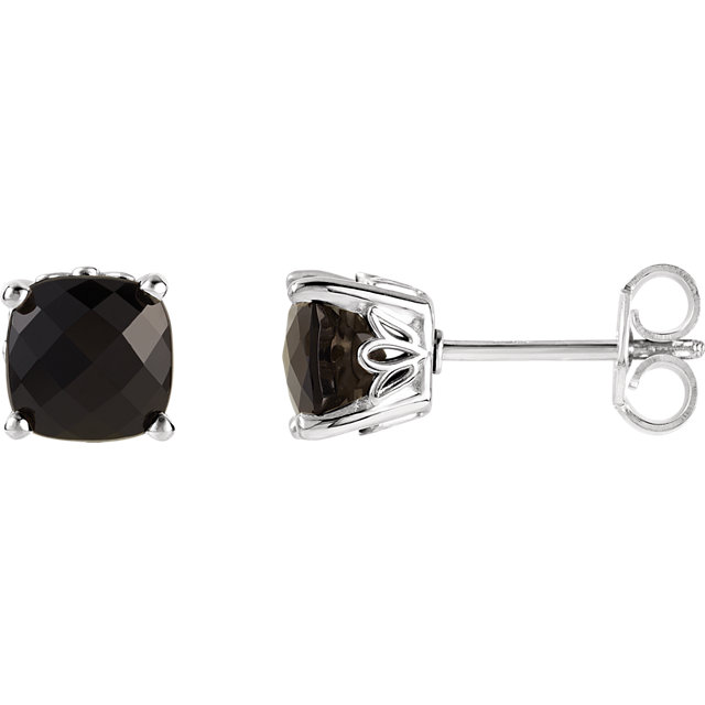 14 Karat White Gold Onyx Earrings