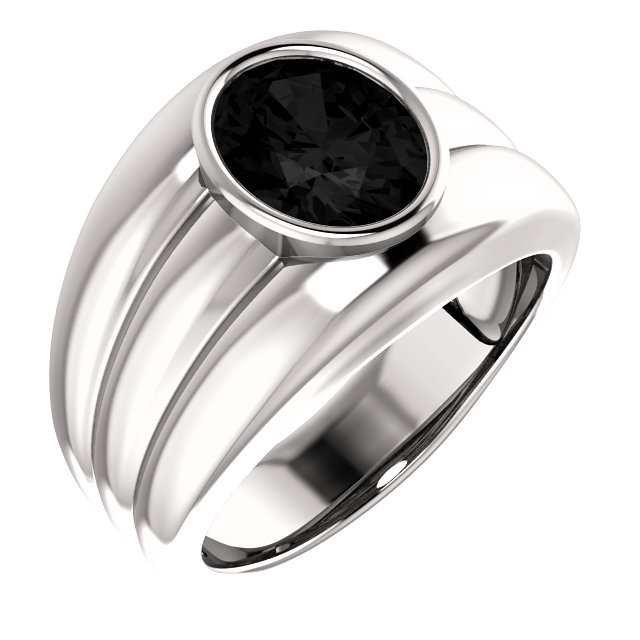Great Gift in 14 Karat White Gold Onyx Men's Ring