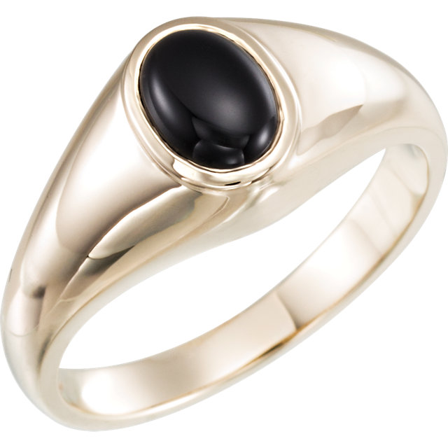 Beautiful 14 Karat White Gold Onyx Ring