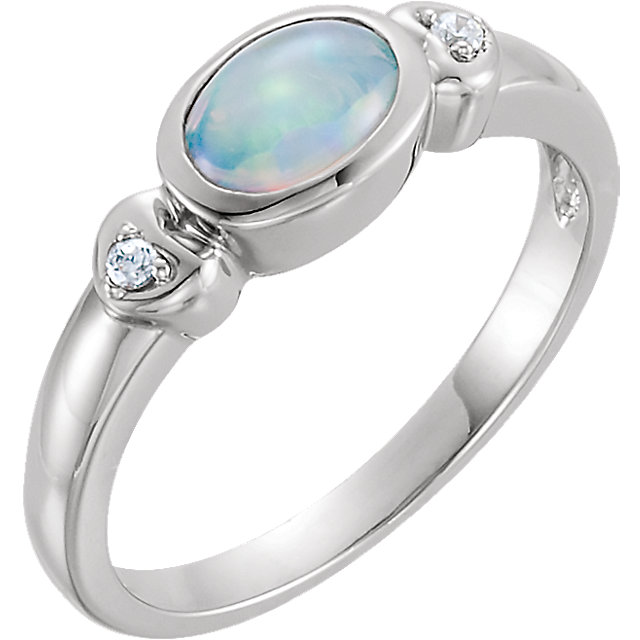 Stunning 14 Karat White Gold Opal & .03 Carat Total Weight Diamond Accented Ring