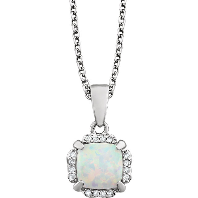 Contemporary 14 Karat White Gold Opal & .05 Carat Total Weight Diamond 18