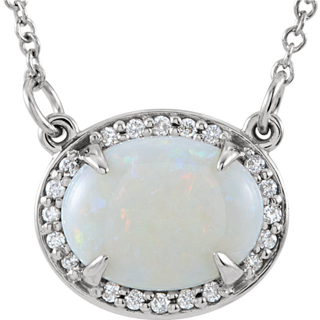 Easy Gift in 14 Karat White Gold Opal & .05 Carat Total Weight Diamond Halo-Style 16.5