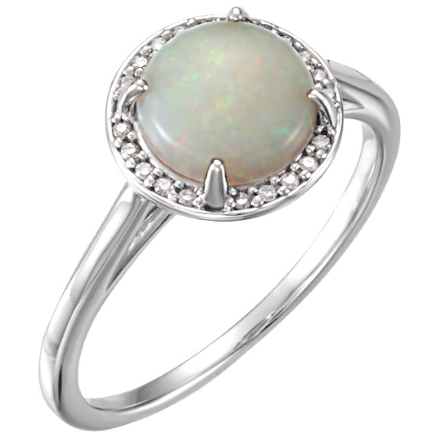 Perfect Jewelry Gift 14 Karat White Gold Opal & .05 Carat Total Weight Diamond Ring