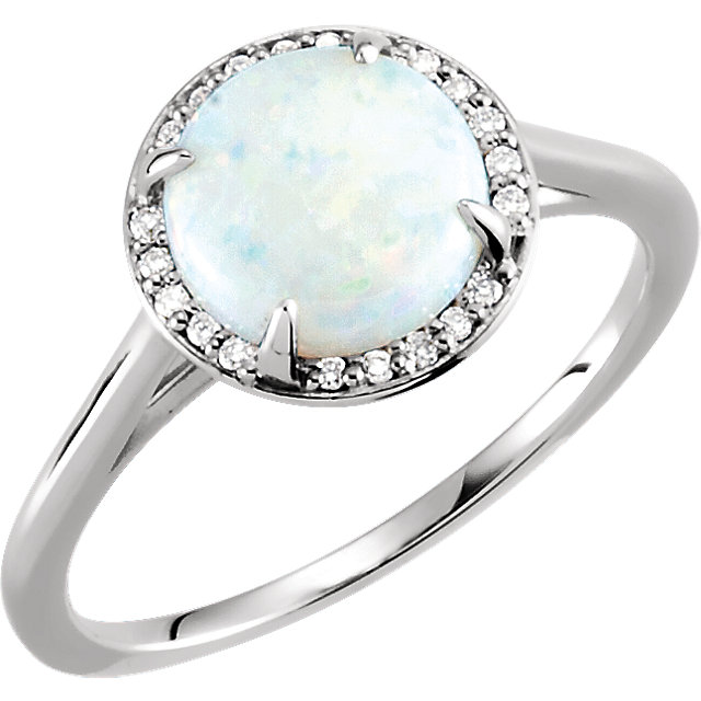 Great Buy in 14 Karat White Gold Opal & .05 Carat Total Weight Diamond Ring