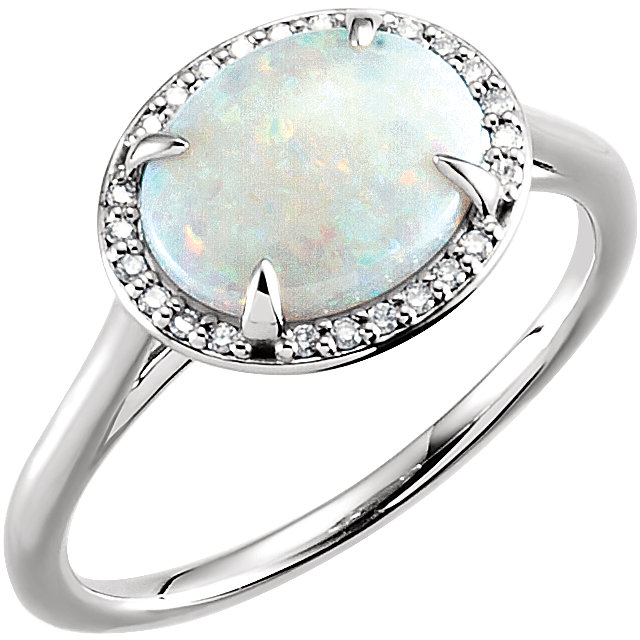 Appealing Jewelry in 14 Karat White Gold Opal & .06 Carat Total Weight Diamond Ring