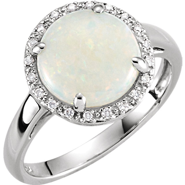 Very Nice 14 Karat White Gold Opal & .07 Carat Total Weight Diamond Ring