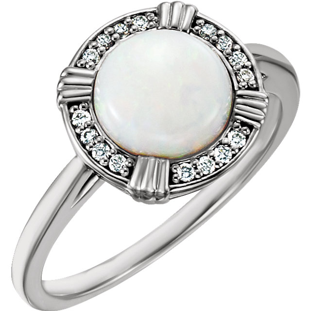 Eye Catchy 14 Karat White Gold Opal & .08 Carat Total Weight Diamond Ring
