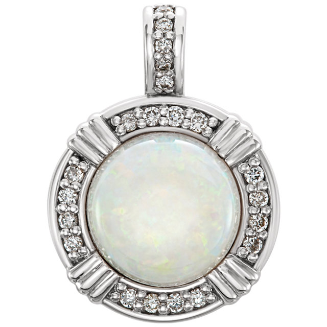 Remarkable 14 Karat White Gold Round Genuine Opal & 0.10 Carat Total Weight Diamond Pendant