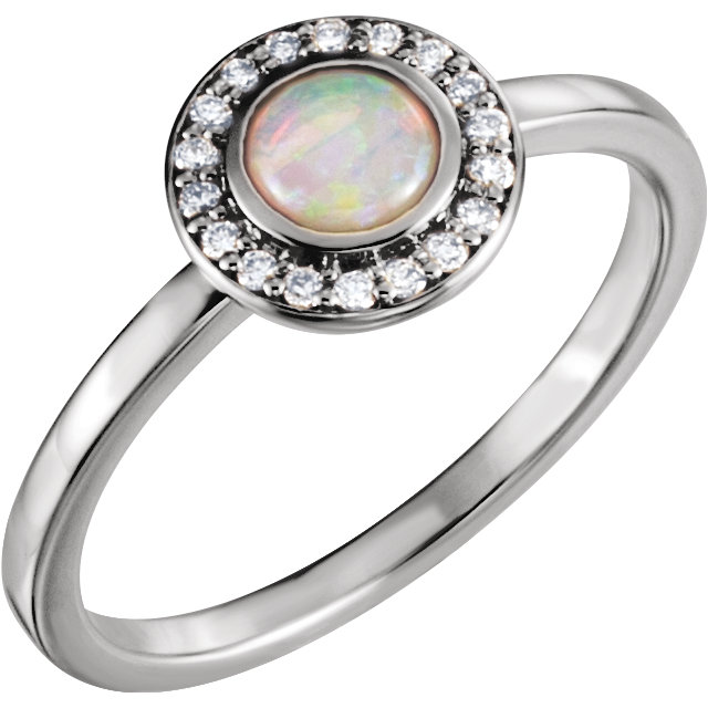 Beautiful 14 Karat White Gold Opal & .08 Carat Total Weight Diamond Ring