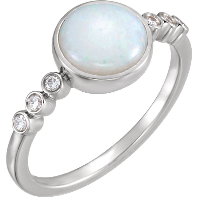 Great Gift in 14 Karat White Gold Opal & 0.10 Carat Total Weight Diamond Ring