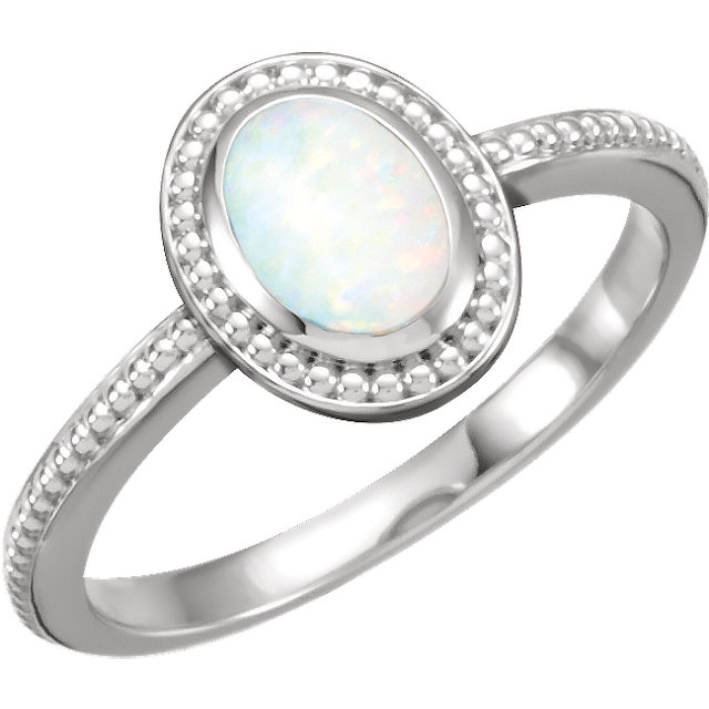 14 Karat White Gold Opal Beaded Cabochon Ring