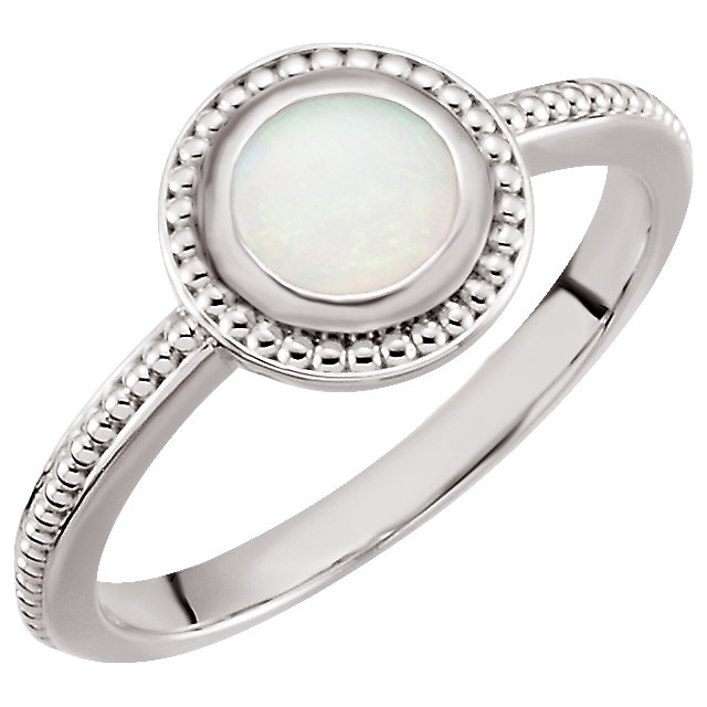 Chic 14 Karat White Gold 6mm Opal Bezel-Set Ring