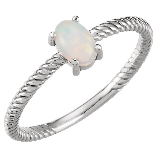 Genuine  14 KT White Gold Opal Cabochon Ring