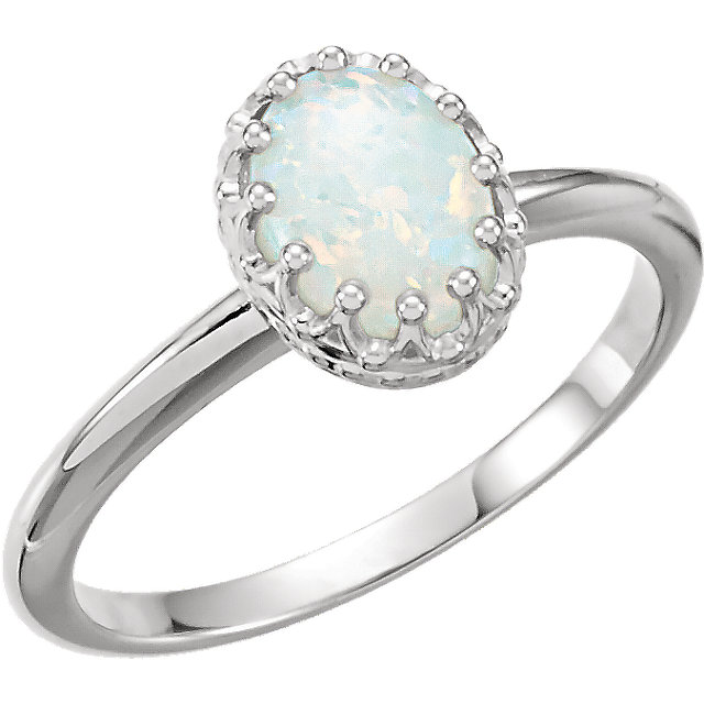 14 KT White Gold Opal Crown Ring