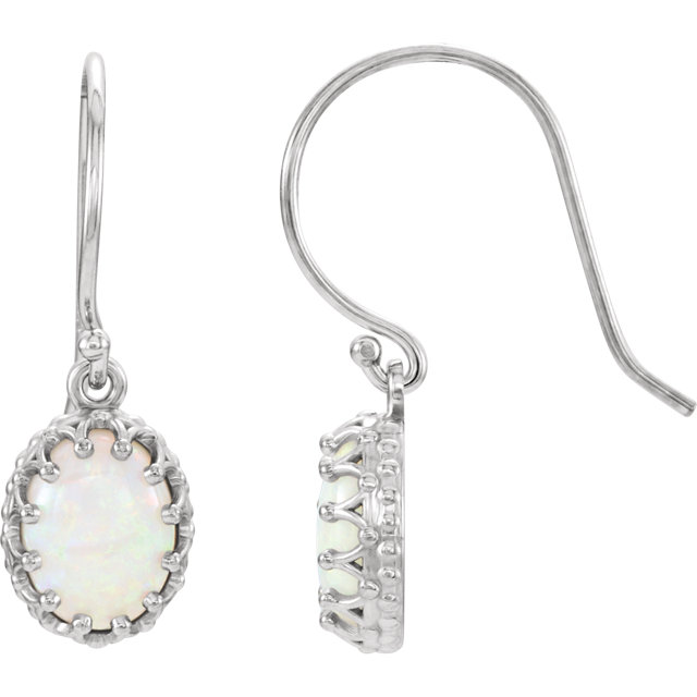 Gorgeous 14 Karat White Gold Opal Earrings