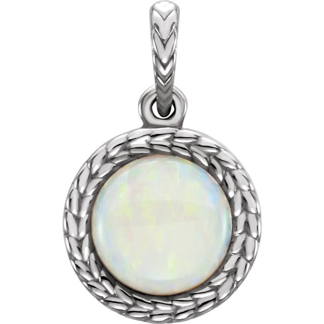 Perfect Gift Idea in 14 Karat White Gold Opal Pendant