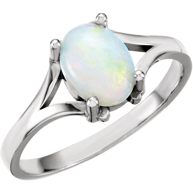 Contemporary 14 Karat White Gold Opal Ring
