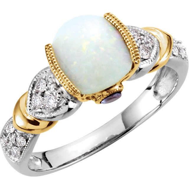 14KT White Gold Opal, Tanzinite & 1/6 Carat Total Weight Diamond Ring