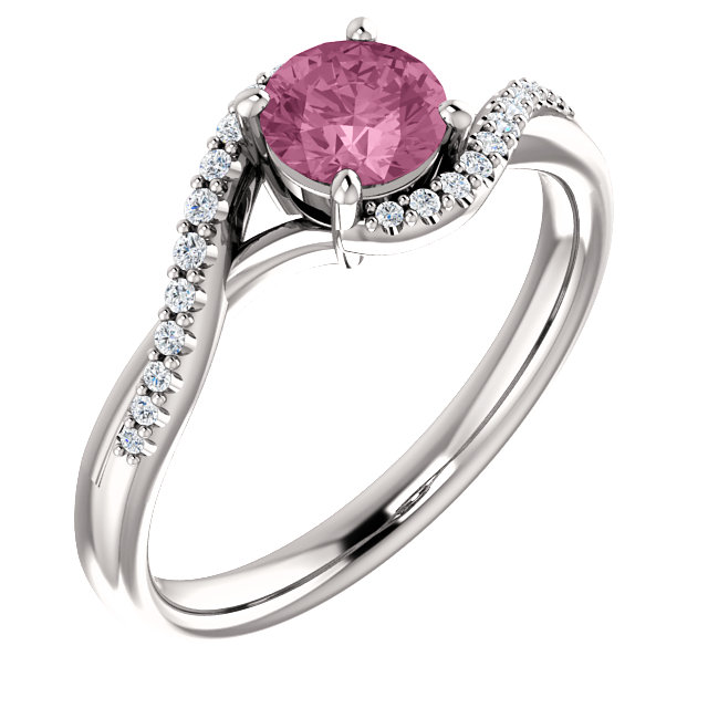 Very Nice 14 Karat White Gold Passion Pink Topaz & 0.10 Carat Total Weight Diamond Ring