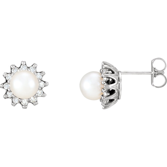 Genuine 14 Karat White Gold Pearl & 0.33 Carat Diamond Earrings