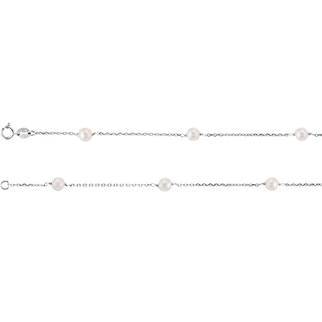 Cultured Freshwater Pearl Necklace in 14 Karat  Gold Freshwater Cultured Pearl Station 18