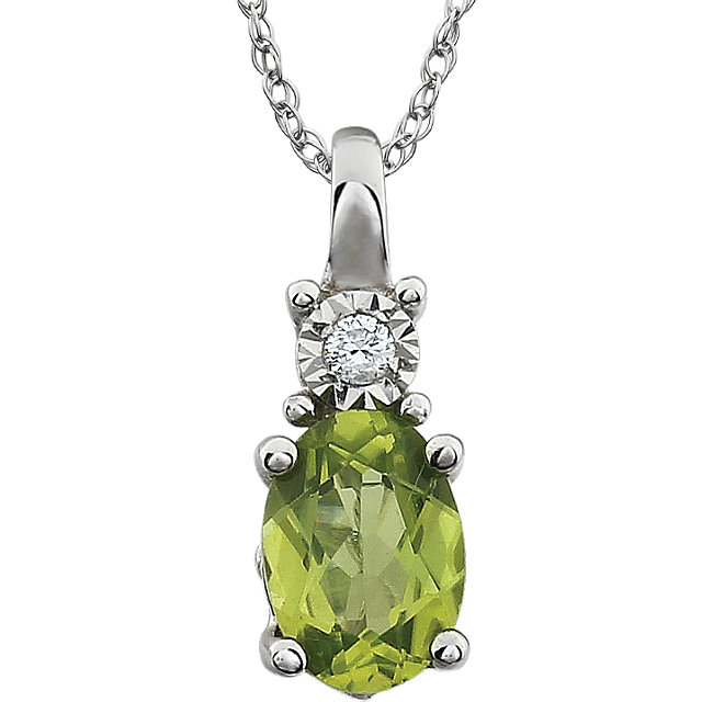 Surprise Her with  14 Karat White Gold Peridot & .02 Carat Total Weight Diamond 18