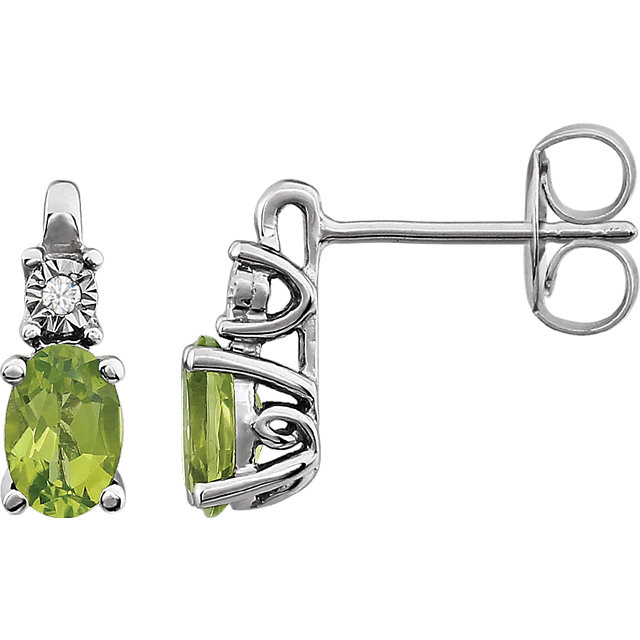 Eye Catchy 14 Karat White Gold Peridot & .02 Carat Total Weight Diamond Accented Earrings