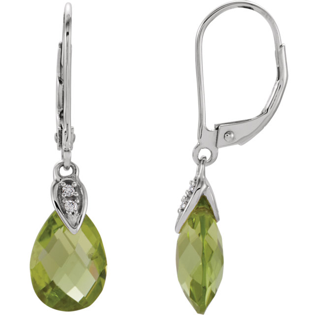 Beautiful 14 Karat White Gold Peridot & .025 Carat Total Weight Diamond Earrings