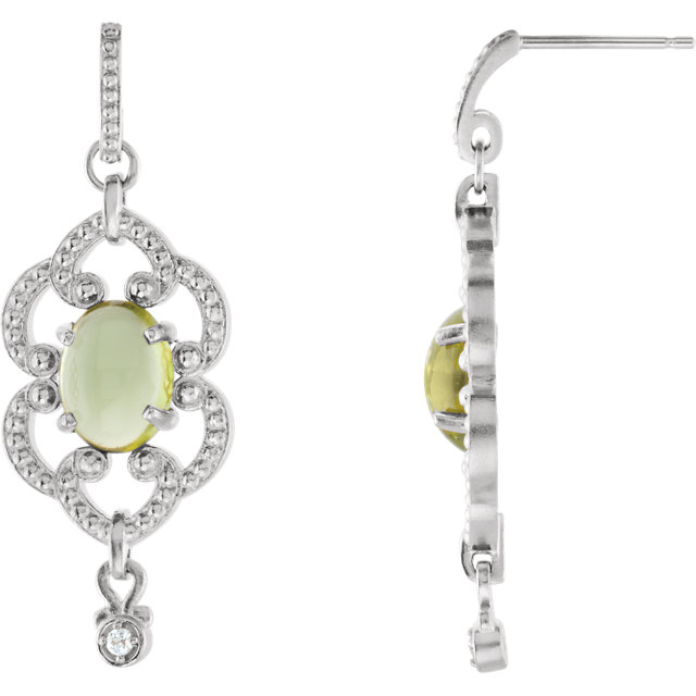Gorgeous 14 Karat White Gold Peridot & .03 Carat Total Weight Diamond Earrings