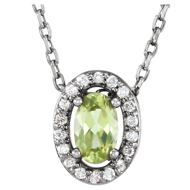 Great Gift in 14 Karat White Gold Peridot & .04 Carat Total Weight Diamond 16