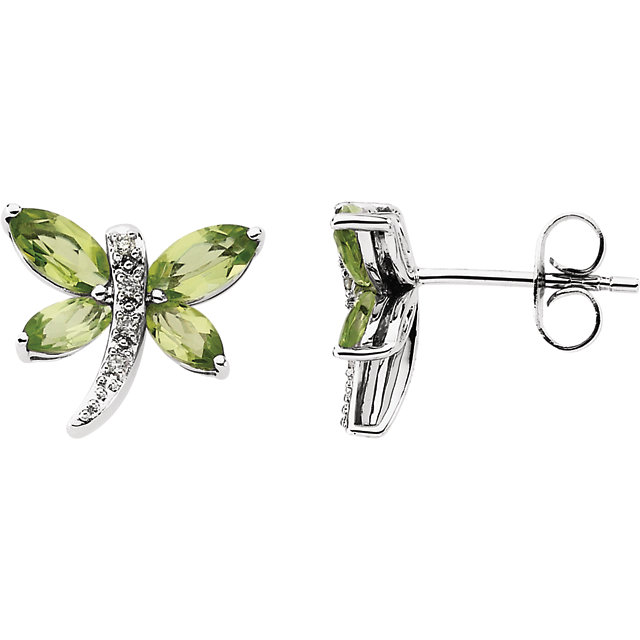 Spectacular 14 Karat White Gold Peridot & .04 Carat Total Weight Diamond Earrings