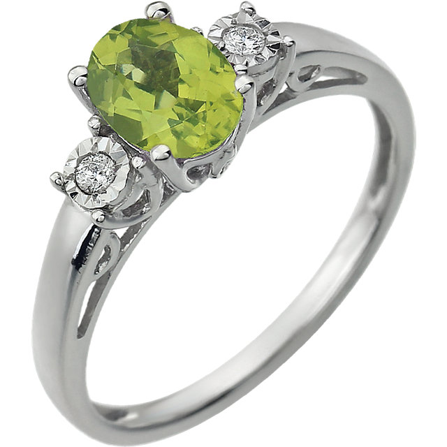 Fantastic 14 Karat White Gold Oval Genuine Peridot & .04 Carat Total Weight Diamond Ring