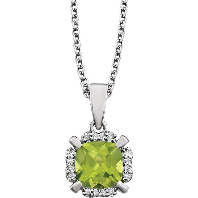 Fine Quality 14 Karat White Gold Peridot & .05 Carat Total Weight Diamond 18