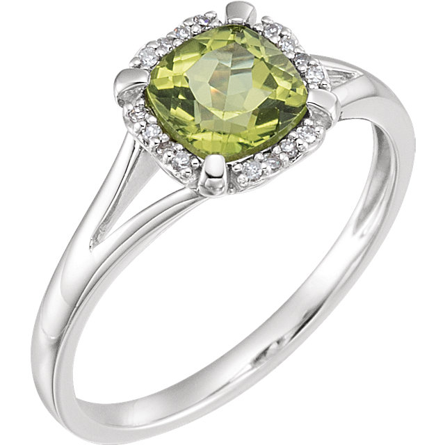 Stylish 14 Karat White Gold Cushion Genuine Peridot & .05 Carat Total Weight Diamond Ring