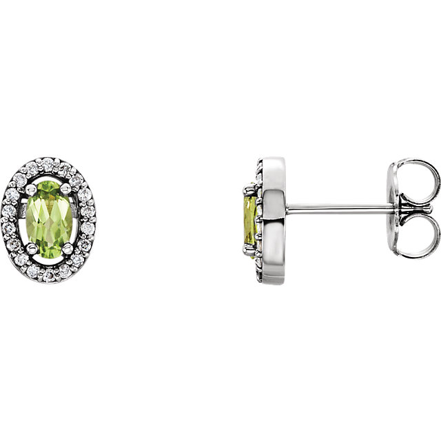 Contemporary 14 Karat White Gold Peridot & .08 Carat Total Weight Diamond Earrings