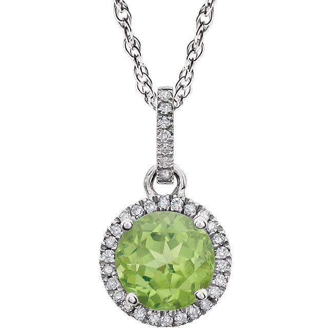 Wonderful 14 Karat White Gold Peridot & 0.10 Carat Total Weight Diamond 18